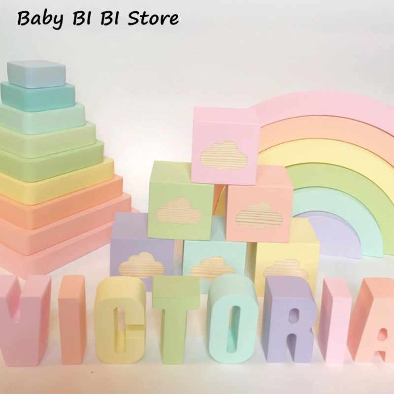 Home Decoration Clouds Square Cube Solid Wood Personality Baby Photo Props Children Products