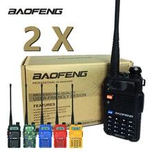 Baofeng Walkie Talkie UV 5R, estación de Radio bidireccional, 2 uds., UV5R, CB 5W, 128CH, VHF, UHF, banda Dual, UV 5R