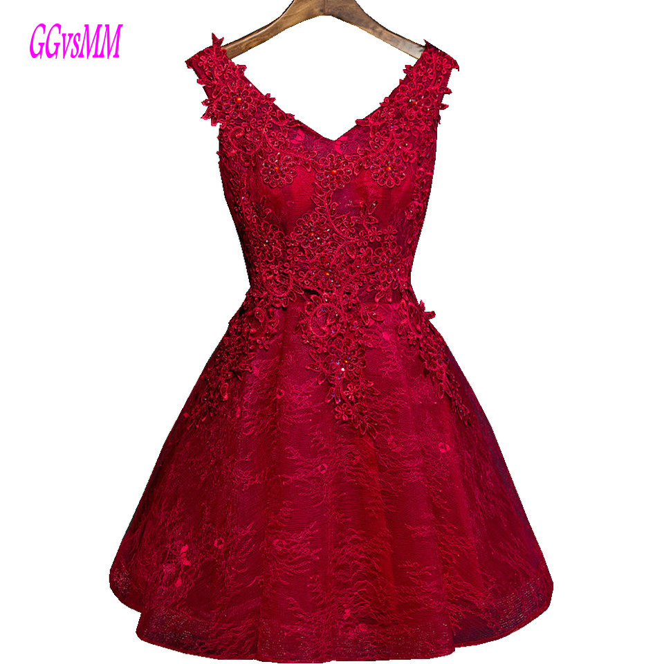 Sexy Burgundy   Prom     Dresses   2018 Black   Prom     Dress   Short V Neck Appliques Lace Up A-Line Knee-Length Women Party Gown High Quality