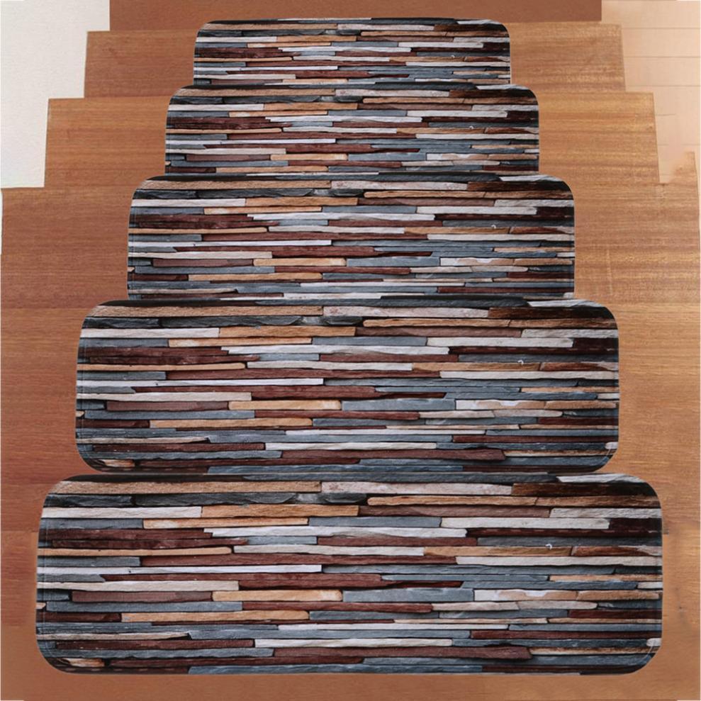 5Pcs 3D Brick Stone Pattern Stair Treads Self Adhesive Non Slip | Stairs With Carpet Treads | Oak | Semi Circle | Outdoor Carpet | Laminate | Turquoise