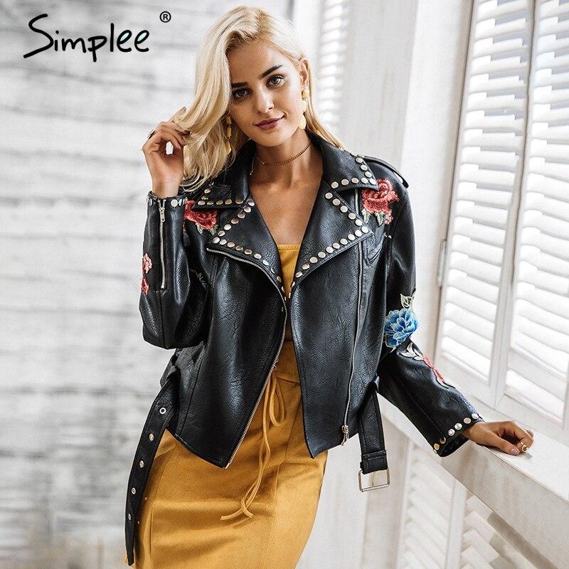Simplee Искусственная кожа цветочные аппликации заклепки женские классические Куртки уличная черный верхняя одежда на молнии осень-зима иску...
