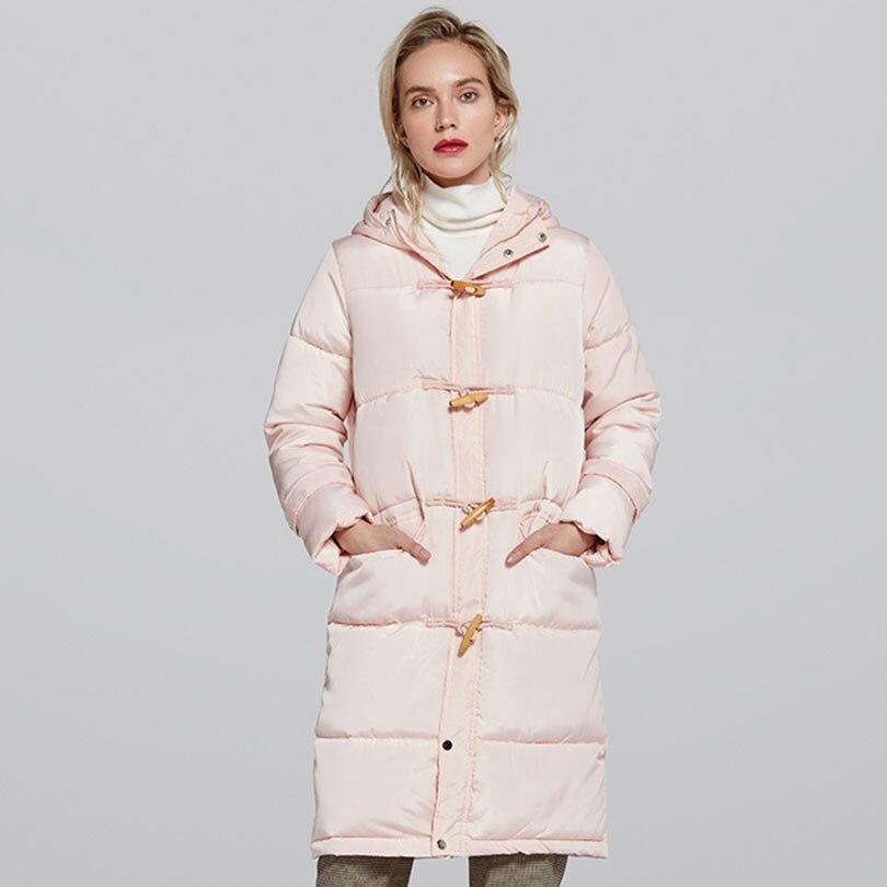 Abrigo de invierno con capucha largo 2018 chaqueta de invierno bocina botón solo Breasted Thicken caliente mujeres Parka Casual