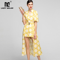 Women's Runway Designer Jumpsuits V Neck Puff Sleeves Printed Fashion Rompers with Detachable Skirts