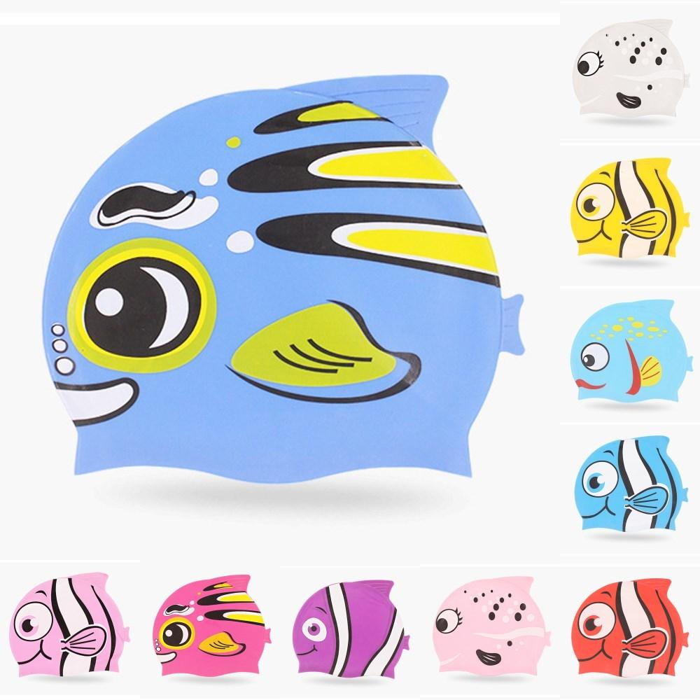 جديد لطيف الكرتون الأسماك أطفال الأطفال سيليكون مرنة للماء طويل الشعر الأذن حماية السباحة بركة سباحة الغوص رئيس كاب قبعة