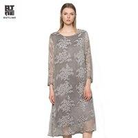 Outline Women Floral Print Fake Two Pieces Dress Vintage Plus Size O Neck Wrist Loose Long