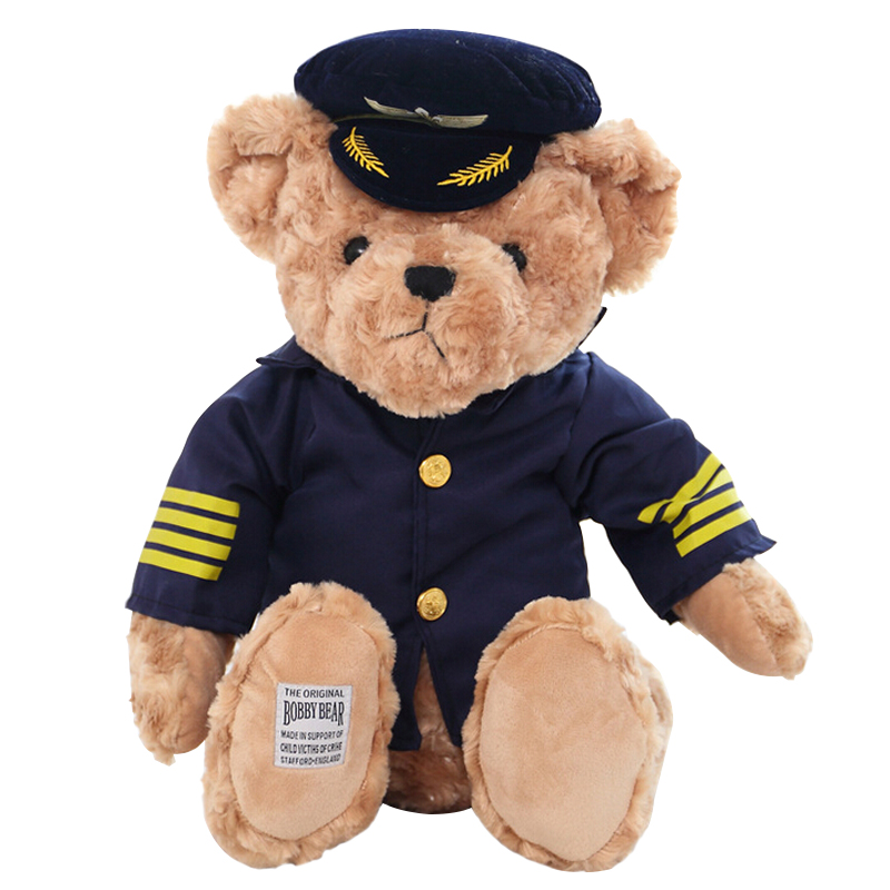 High Quality 1pc New Cute Pilot Teddy Bear Plush Toy Captain Bear Doll Birthday Gift Kids Toy Baby Doll the lovely bow bear doll teddy bear hug bear plush toy doll birthday gift blue bear about 120cm
