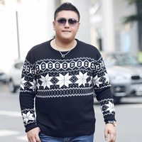 High Quality Autumn Winter Soft Warm Knitted Sweater Men Christmas Geometric Plus Size thick Sweaters Casual O Neck Pullover Men