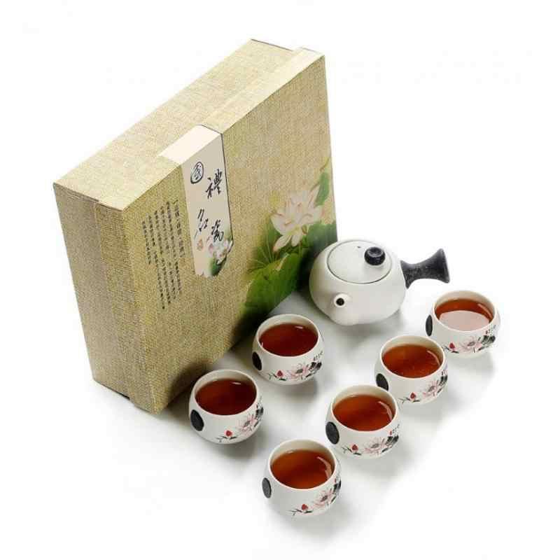التقليدية 6 قطعة شاي أبيض كوب الصينية التقليدية طقم شاي Drinkware إبريق شاي من السيراميك الصين الكونغ فو فنجان شاي مع هدية مربع