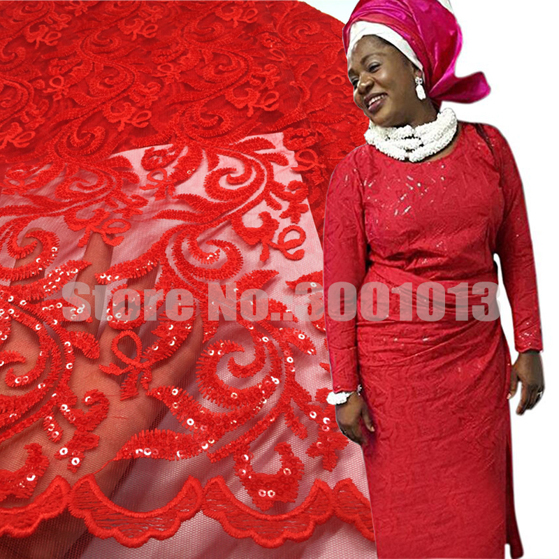 2017 Latest African French Lace with sequins Big French lace African Lace fabric embroidery lace 5y