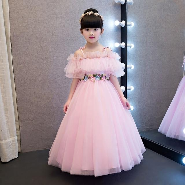 5923620ff499 2017New Summer Style Baby Girl Princess Pink Long Dress Children s ...
