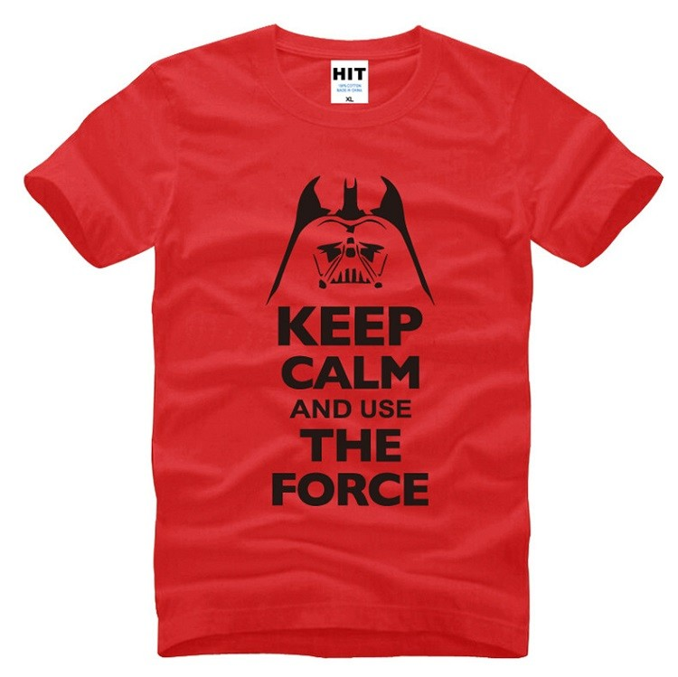 red color tshirt with black keep calm and use the force starwars tshirt