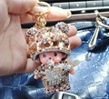 Crystal Monchichi doll Key Chain Champagne Monchhichi Key chains bag Charm Car Key Rings keychain Wallet charm sleutehanger