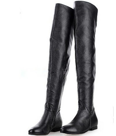 Leather Thigh High Flat Boots | FP Boots