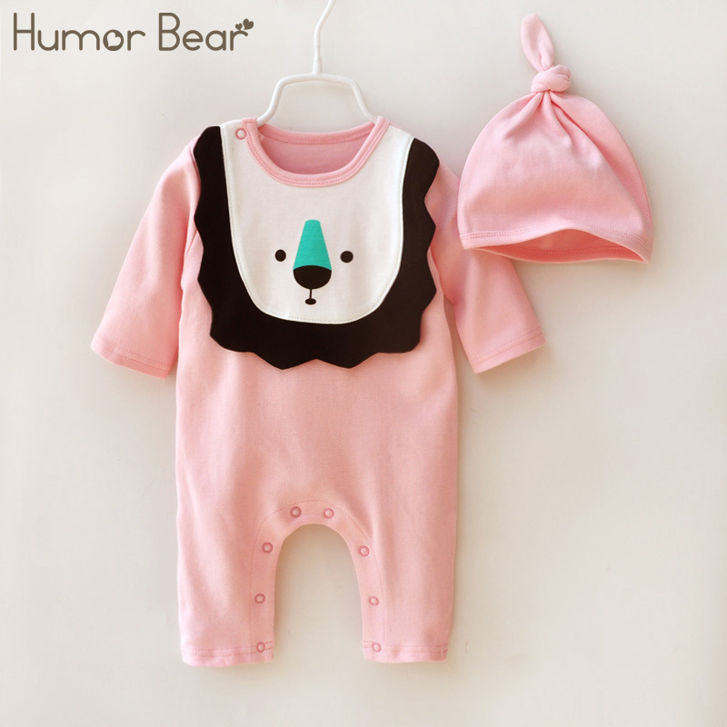 Humor Bear Baby Clothing Baby Girl Clothes lion Romper Clothing Set Jumpsuit Hat 2PC Cute Infant Girls Rompers Baby suit boy set