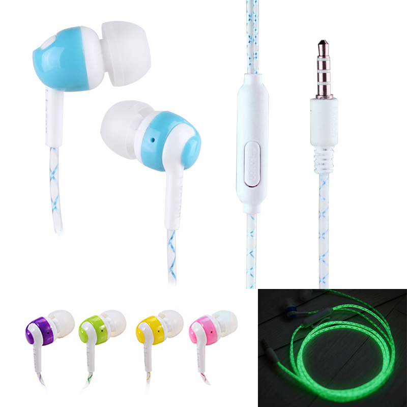 Teamyo Glowing Earphone Luminous Light Green Glow In The Dark For Iphone Samsung Xiaomi MP3 With Mic luminous costumes glowing gloves shoes light clothing men dance clothes for holiday lighting decor