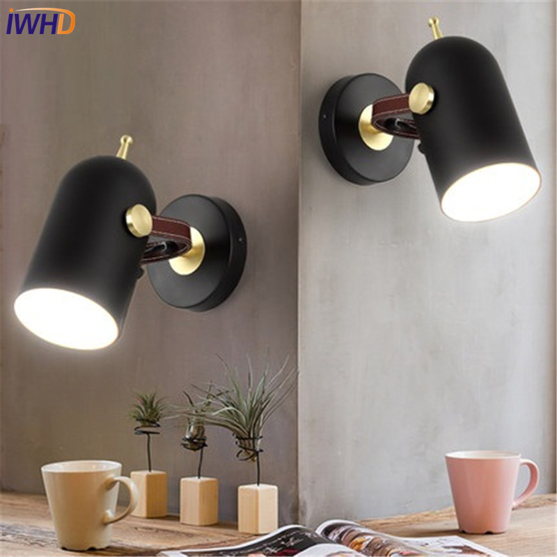 IWHD Fashion Simple Modern Wall Sconce Creative Black LED Wall Light For Home Lighting Rotate Bedside Wall Lamp Lampe Murale creative led wall lighting modern reading bedside lamp telescopic wall lamp robotic arm e14 incandescent wall lamp