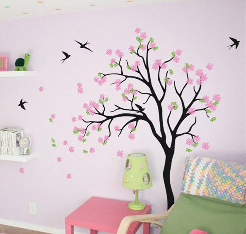 Grand bébé pépinière arbre stickers muraux-fleur fleur arbre décalcomanie avec oiseaux décoration pour la maison bricolage pépinière chambre décor W-19