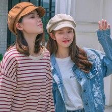 HT2514 Men Women Beret Cap Spring Summer Sun Hats for Solid Vintage Newsboy Artist Painter Octagonal