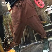 Boyfriend Cotton Baggy Pants For Women New Spring Woman Loose Fit Harem Pants Femme Brown Cotton