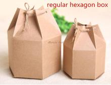 20pcs lot 6cm 4 5cm big small size Fashion regular hexagon kraft paper Gift box food