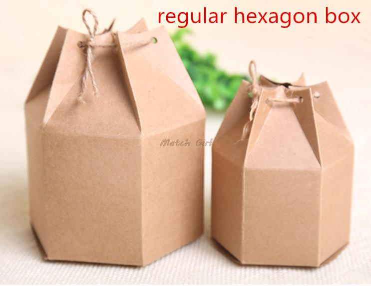 20pcs lot 6cm 4 5cm font b big b font small size Fashion regular hexagon kraft