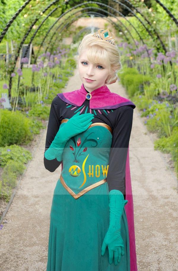 Reine des neiges Elsa Anna couronne robe adulte femmes reine Cosplay Costume Cape