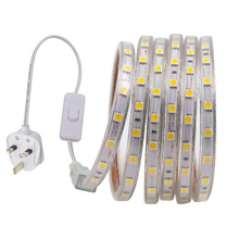 5050 LED Strip Light AC220V Waterproof Flexible Ribbon Tape 60Leds/m LED Strip Rope for Outdoor Indoor Decor With Switch UK Plug