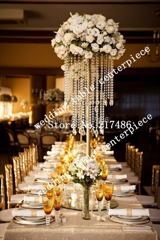 Tall Crystal Table Top Chandelier Centerpieces For