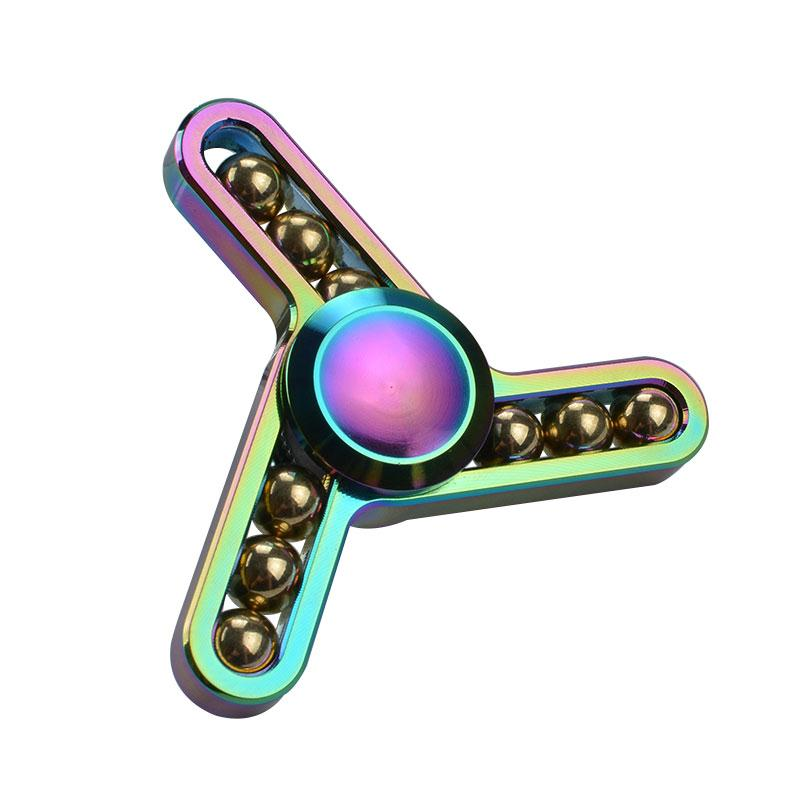 Rainbow Fidget Spinner 9 Steel Balls Hand Spinner Tri Spinner  Autism ADHD Funny Stress Fidget Toys