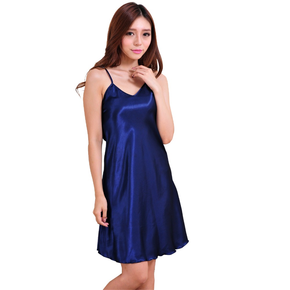 Ladies Sexy Silk Satin   Nightgown   Sleeveless Nighties Above Knee Nightdress Plus Size Night Dress Summer   Sleepshirt   For Women
