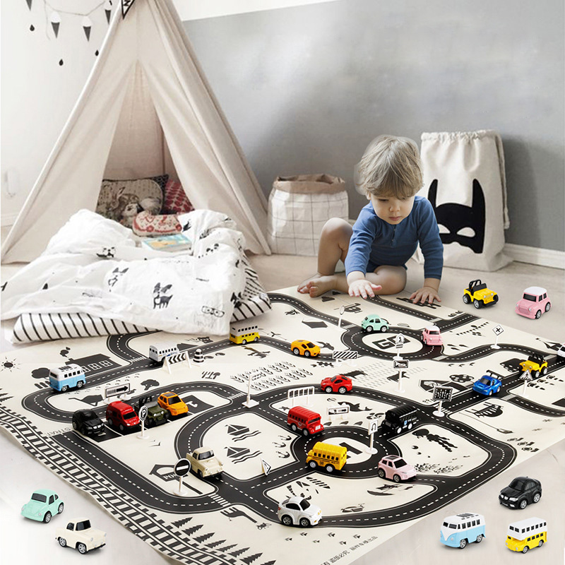 <font><b>130*100CM</b></font> Enlarge Car Toy Waterproof Playmat Simulation Toys City Road Map Parking Lot Playing Mat Portable Floor Games For Kids image