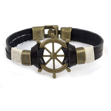 Fashion Rudder Cuff Braided Wrap Bracelet & Bangles Men Jewelry Pirate Genuine Leather Anchor Bracelets Vintage Mens