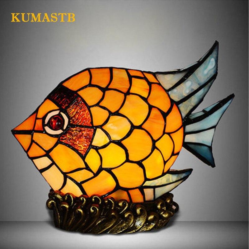 Vitrail poisson lampe de Table créative LED poisson lampe de bureau pour la décoration de la maison enfants chambre veilleuse salon poisson lampe