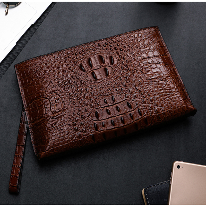 BAQI Men Wallets Clutch Bag Genuine Leather Cowhide Alligator Embossing 2019 Fashion Purse Men Handbags Business Bag Card Holder in Wallets from Luggage Bags