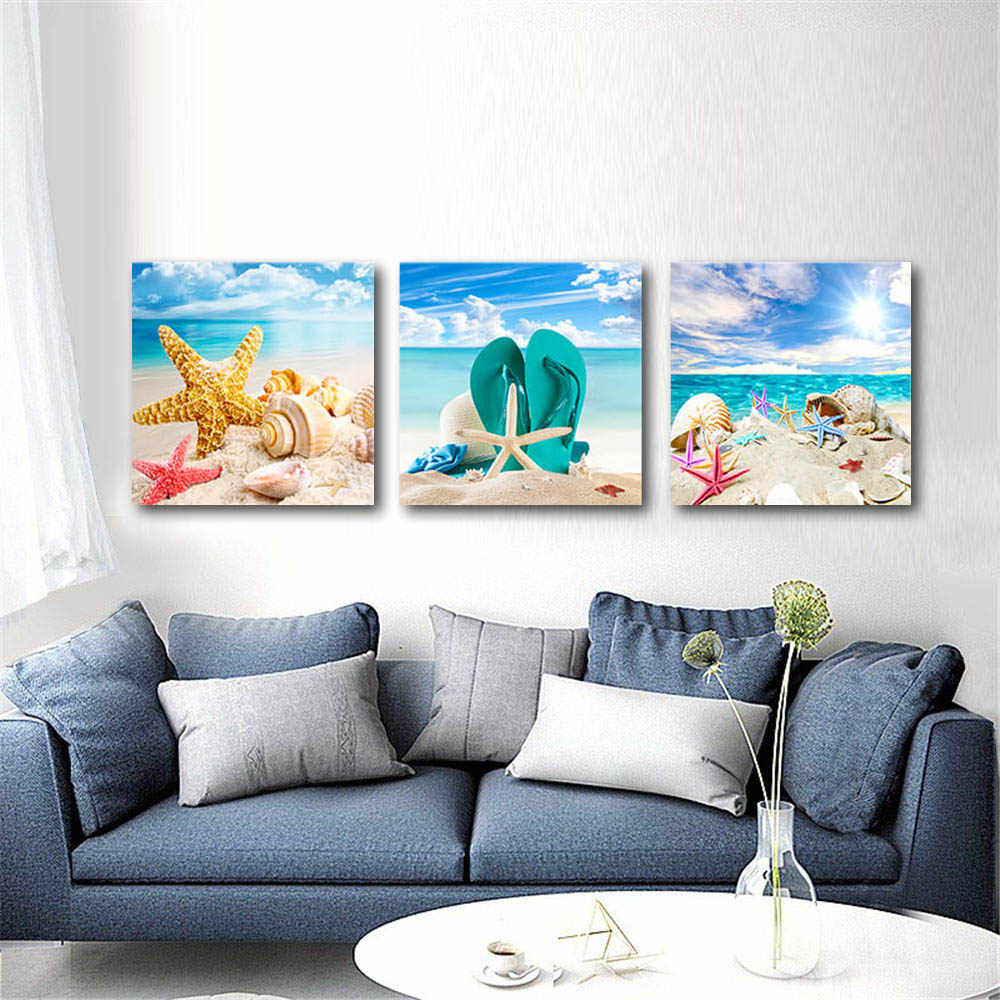 3 PCS/Set Landscape Wall Art Canvas Painting Beach Shell Poster Sunset Seascape Picture Sunflower Artwork Picture for Bedroom