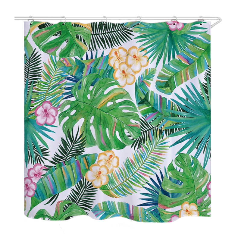 Urijk 1PC Green Tropical Plants Waterproof Polyester Fabric Bath Shower Curtains for Bathroom Curtain Banana Leaves Printing