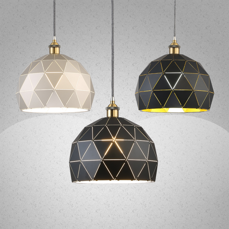 Nordic iron pendant lights bar restaurant dining room light creative personality black and white pendant lamp single head-za