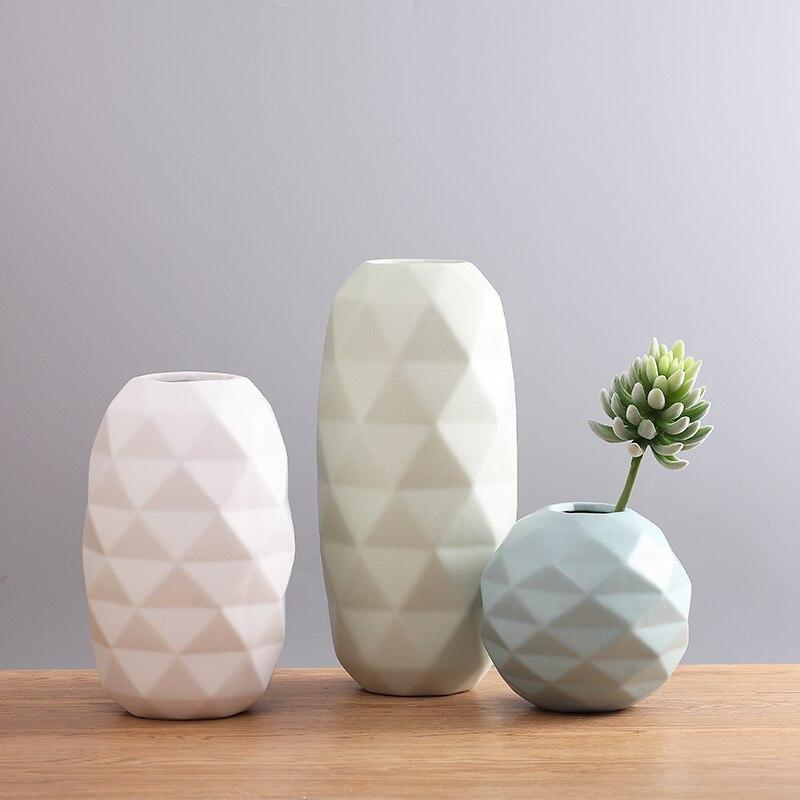 Creative Nordic Modern Desktop Vase Flower Pot Stylish Geometric Model Housing Decoration Vase of Water Chestnut Wholesale