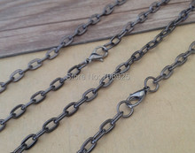 100pcs/lot  24 inches (60cm) gunmetal color flat shape Link chain with Lobster clasp 4mmx7mm