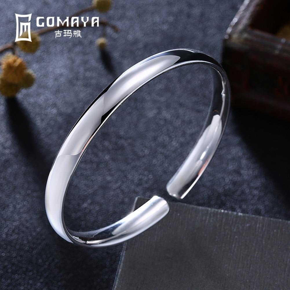 GOMAYA 999 Sterling Silver Bangles Bracelets Elegant Open Bangles Fine Jewelry Classic Vintage Pulseira Gift for Women