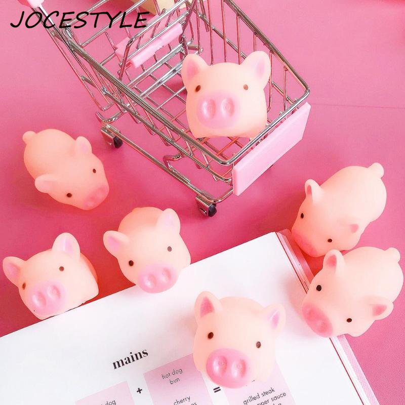 Pink Cartoon Squishy Pig Anti-stress Toy Piggy Sounding Silicone Squeeze Toys Stress Relief Toys Kids Gift Baby Funny Toy Gifts funny cartoon pig style audio earphone jack anti dust plug for iphone 4 4s ipad pink black