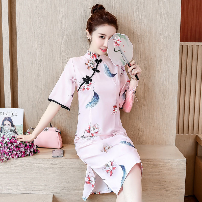 Plus Size Elegant Chinese Style Qipao Cheongsams Dress 2019 New Summer Short Sleeve Butterfly Printed Daily Improve Qi Pao Dress