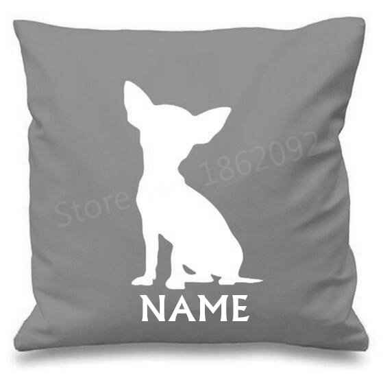 "Personalized Chihuahua Cushion Cover Personalised Dog Throw Pillow Case Custom Name Puppy Pet Gifts Decor 18"" Pink Grey Two Side"