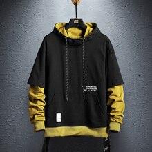 Свитер с капюшоном мужские хип-хоп пуловер толстовки уличная Повседневное модная одежда colorblock(цветовой блок), толстовка хлопок