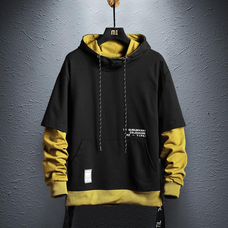 Hoodie Sweatshirt Mens Hip Hop Pullover Hoodies Streetwear Casual Fashion Clothes colorblock hoodie 2019 cotton