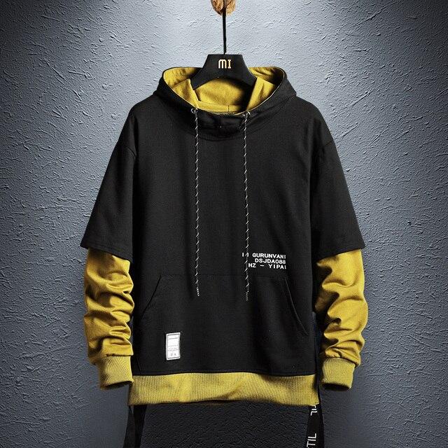 $ US $22.09 Hoodie Sweatshirt Mens Hip Hop Pullover Hoodies Streetwear Casual Fashion Clothes colorblock hoodie  cotton