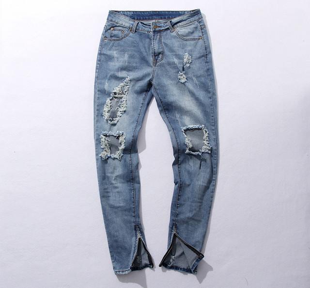 Kanye west Temor de dios el agujero roto dañado Angustiado rasgó lt blue jeans pierna cremallera Kanye West de los hombres de mezclilla Pantalones