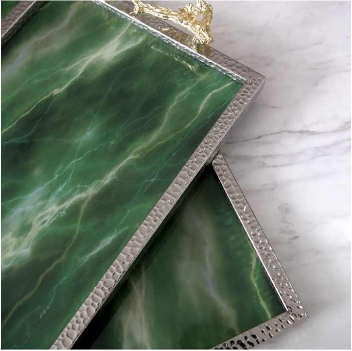 Szmaragdowy talerz do serwowania/sztuczny kamień/srebrna powłoka