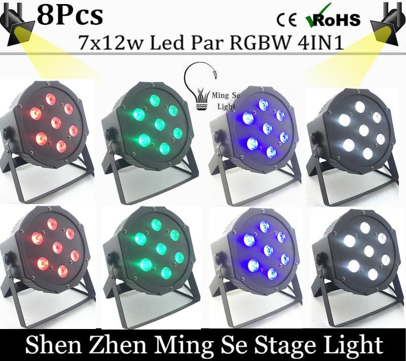 New Seller 8pcs /lots   7x12w led Par lights  RGBW 4in1 flat par led dmx512  disco lights professional stage dj equipment