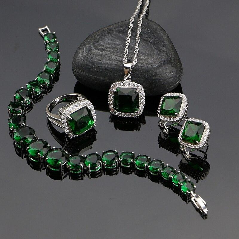925 Sterling Silber Schmuck Sets Grün Zirkonia Weiß Cz Perlen Für Frauen Russian Ohrringe/ring/armband/anhänger/halskette